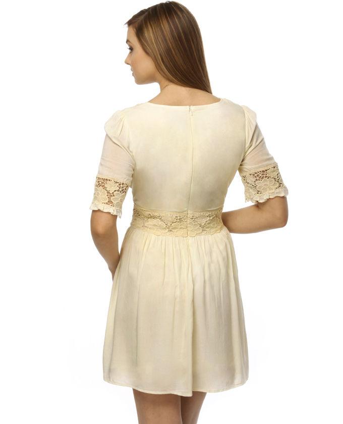 kleider mit spitze - Elfenbein Spitze Kleider - Elegante Damen Elfenbein Spitze Maxikleid