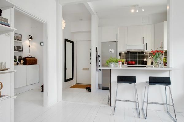 Blanco y negro peque o departamento sch ne frau for Departamentos pequenos minimalistas