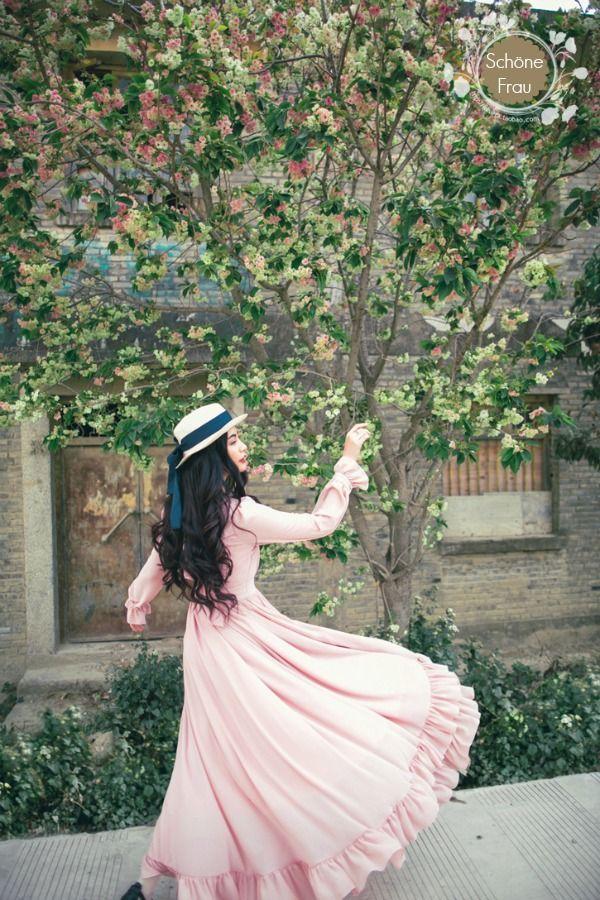 Vestido campesino rosa con olanes