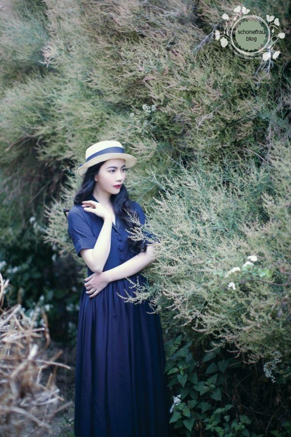 Vestido campesino azul marino